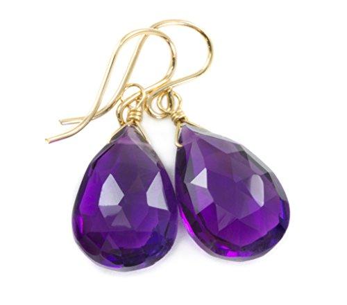 14k Gold Filled Purple Amethyst Earrings Faceted Long Teardrop (Amethyst Teardrop Dangle Earrings)