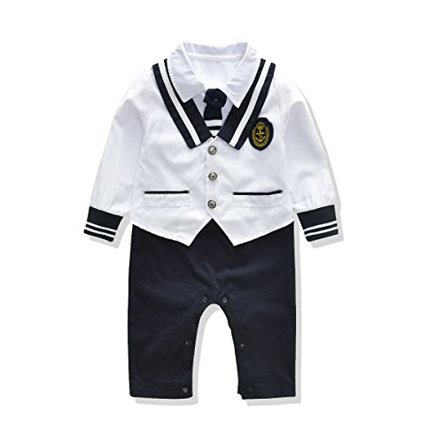 Baby Rompers Boys Navy Uniform And Sailor Style Outfit Jumpsuit Overalls Romper (13-18 Months, (Customs For Babies)