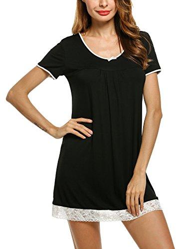 HOTOUCH Women's Nightgown Cotton Nightwear Loose Short Sleeve Sleepwear Black -