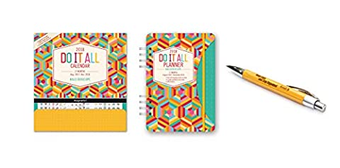 Orange Circle Studio 2018 Kaleidoscope Do It All Magnetic Wall Calendar and Do It All Planner , Aug. 2017 - Dec. 2018, Comes with a Kemah Bamboo (201 Daily Planner)