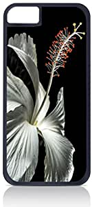 White Hibiscus - Case for the Apple Iphone 5-5s Universal- Hard Black Plastic with Inner Soft Black Rubber Lining-Snap On Case