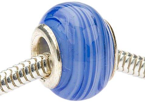 Beadaholique Murano Style Glass Lampwork Pandora Compatible Beads, 13.5mm, Blue Marble Dream - Deep Blue Murano Glass