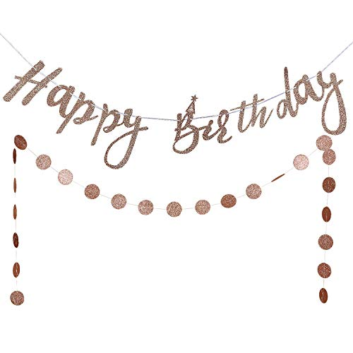 Rose Gold Glittery Happy Birthday Banner and Rose Gold Glittery Circle Dots Garland -Birthday Party Decorations -