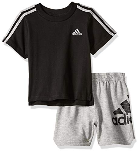 adidas Baby Boys Sleeve Tee and Short Set, Sport ADI Black, 9 Months