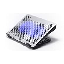 """Pwr+ 17"""" Laptop Cooling Stand Pad for Macbook - Samsung Ultrabook Toshiba Lenovo Acer Asus Dell Hp Sony Quiet Fans Silver Metal Mesh Light Fully Adjustable Ergonomic"""