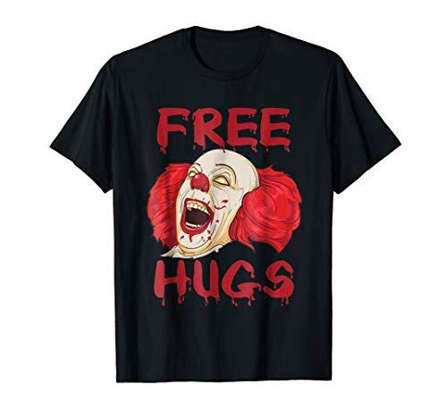Free Hugs T Shirt Evil Killer Scary Clown Halloween Gift Tee