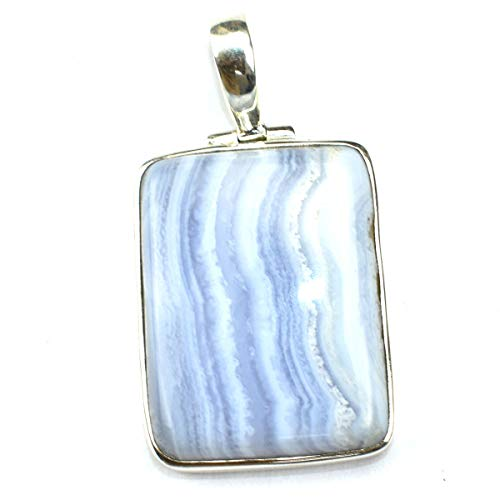 925 Sterling Silver Simple Design Jewelry Natural Blue LACE Agate Gemstone ()