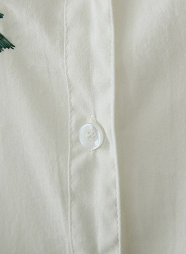 White Achicgirl Casual Shirt Women's Tree Embroidery Button Down wz1q0w