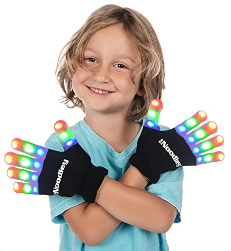 From First To Last Halloween 2019 (The Noodley Flashing LED Finger Light Gloves with Extra Batteries - Kid Sized - Black,)