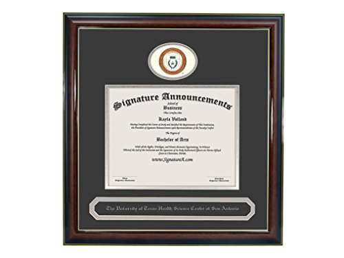 Texas San Antonio Seal (Signature Announcements University-of-Texas-Health-Science-Center-At-San-Antonio Undergraduate Sculpted Foil Seal & Name Diploma Frame, 20 x 20, Gloss Mahogany w/Gold Accent)