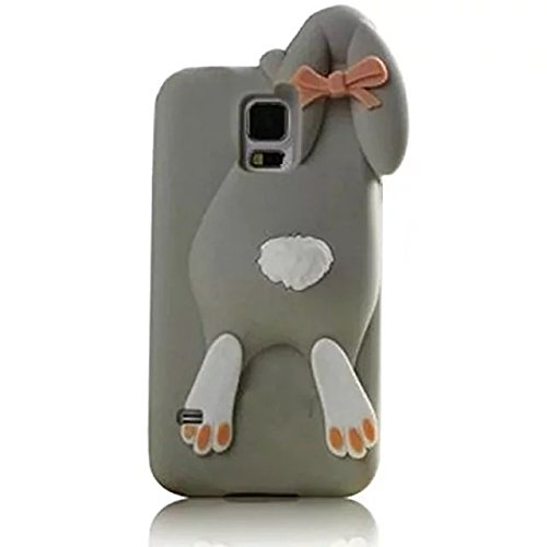 Galaxy S5 Silicone Case,3D Cartoon Rabicool Animals Design Buck Teeth Rabbit Bunny Soft Rubber Cover Protective Skin for Samsung Galaxy S5 -