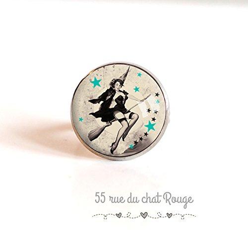 Bague cabochon 18 mm, Sorcière sur son balai, étoiles, pin up, année 60's année 60' s