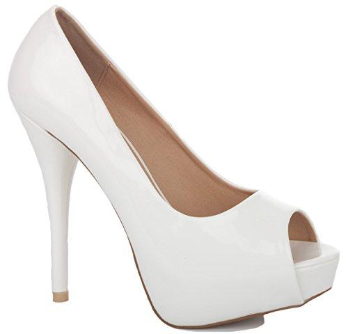 NEW WOMENS LADIES WEDDING BRIDAL BRIDESMAID PARTY PROM HIGH HEELS STILETTO PLATFORM PEEP TOE COURT SHOES PUMPS SIZE 3-8 White Patent gtaXk