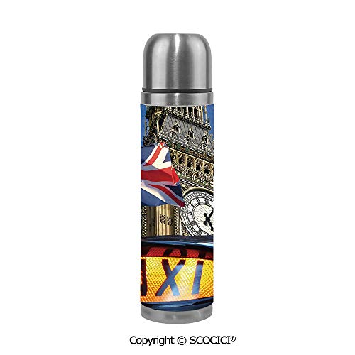 Stainless Steel Vcuum Flask Union Jack Flagon Pole And Big Ben Taxi Cab Urban Modern Country Symbols Image Stainless Steel Cup Tumblers Bridesmaid Proposal 17.5 oz / - Jack Cabelas