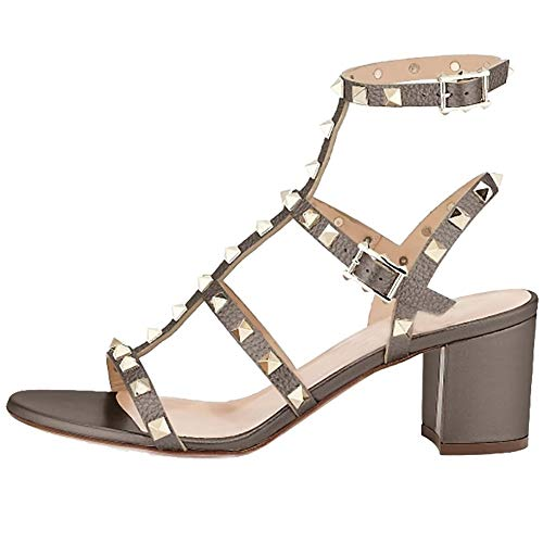 5a639a36e0923 Comfity Leather Sandals for Women,Rivets Studded Strappy Block Heels ...