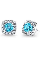 Gemstone and 2 3/4ct Amethyst Halo Stud Earrings in Sterling Silver