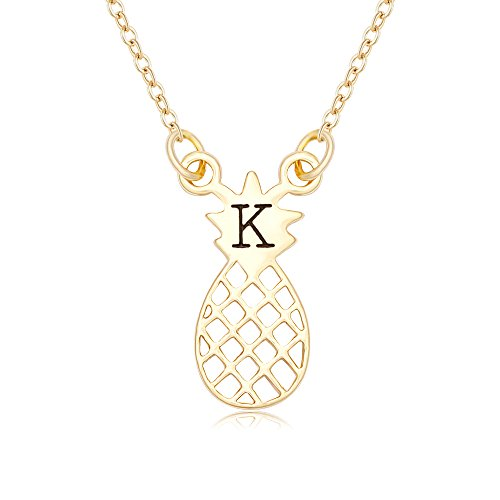 NOUMANDA Shiny Zircon 26 Alphabet English Letters Golden Pineapple Initial Disc Charms Necklace (K)