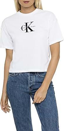 Calvin Klein Women's Teco True Icon SS Tee Shirt,White,X-Small