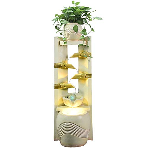 AO European Style Water Fountain Living Room Home Humidifier Fish Tank Bonsai Decoration Opening Floor Decoration Flower Stand (Color : - Fountain Floor Style
