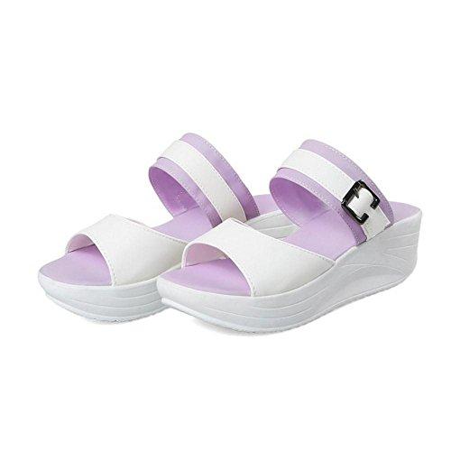 COOLCEPT Damen Gemutlich Pantoletten Sandalen Plateau Purple
