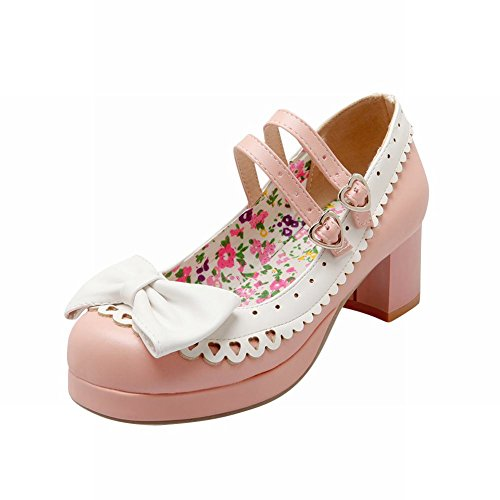 Lolita Shoes - Latasa Women's Cute Lolita Cosplay Bow Floral Mid Chunky Heel Mary Jane Pumps Shoes (7, pink)