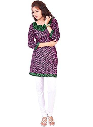 IndusDiva Women's Purple Cotton Straight Cut Kurti