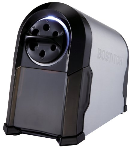 Bostitch Antimicrobial SuperPro Glow Extra Heavy Duty Commercial Classroom Electric Pencil Sharpener with Replaceable Cutter Cartridge System, 6-Hole, Silver/Black (EPS14HC)