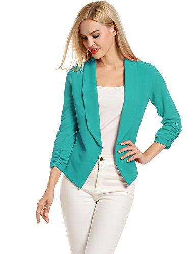 (Bright Blazer Summer Cardigan Jacket for Women Lightweight 3/4 Slim Office Blazer (M, Teal) )