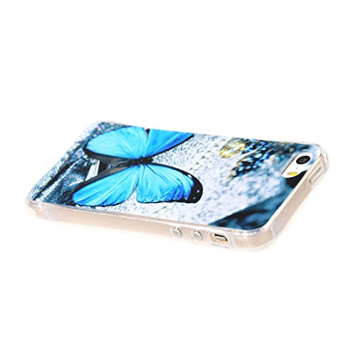 PowerQ Bubble Blase Serie Tropfen Widerstand buntes Muster TPU Case Hülle < Blue Butterfly - für IPhone 6 6S IPhone6S IPhone6 >           4-Corner Gassack Blase Stoßstange Airbag Drop Resistance Pattern Muster