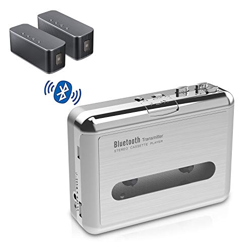 DIGITNOW! Bluetooth Walkman Cassette Player Bluetooth Transfer Personal Cassette, 3.5mm Headphone Jack and Earphones Included