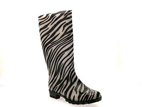 Print Womens 8 UK Metallic Wellingtons Stiefel Regen 3 Zebra Festival Print Animal Größe Animal Wellies C0C4q