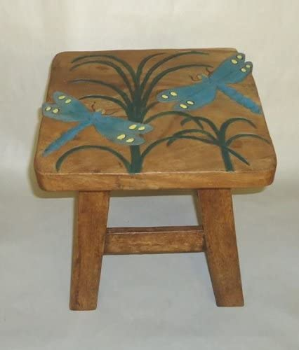 In the Garden and More Dragonfly Hand Carved Wooden Foot Stool