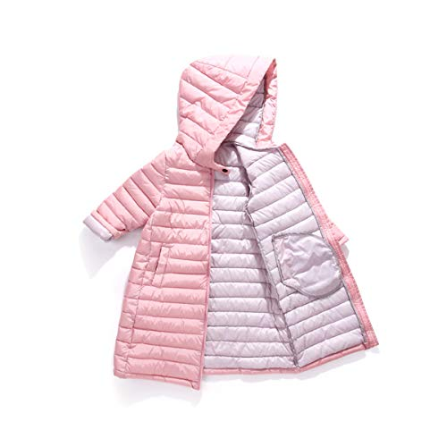 RUI-CHENG Kids Mid-Long Hooded Lightweight Packable Down Jacket Winter Coat