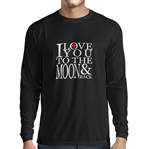 Long Sleeve t Shirt Men I Love You To The Moon and Back - Love Clothing (XXX-Large Black - Day Whens Valentimes