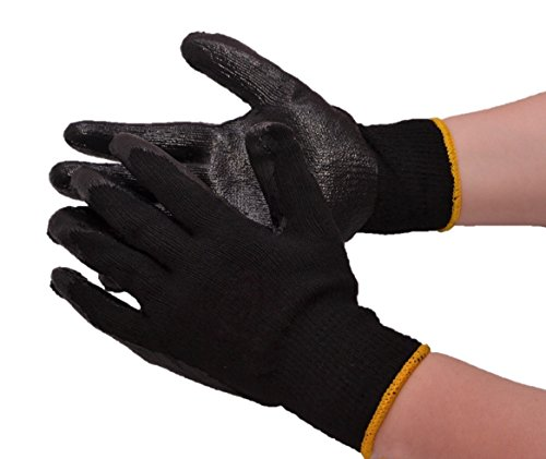 DELUXE COTTON STRING KNIT PALM DIPPED PVC WORK GLOVES – LARGE – BLACK – 20 ()