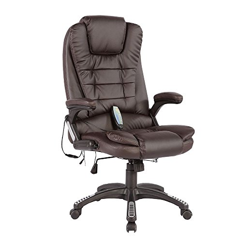 Murtisol Ergonomic Massage Gaming Chair, Leather Executive Heated Office Chair, adjustable high back Chair BROWN (Ergonomic Massage Chair)