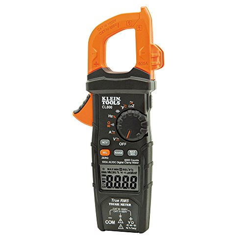 Klein Tools CL800 Electrical Tester, Digital Clamp Meter AC / DC Auto-Ranging 600 Amp Measures Voltage, Resistance, Temp, More