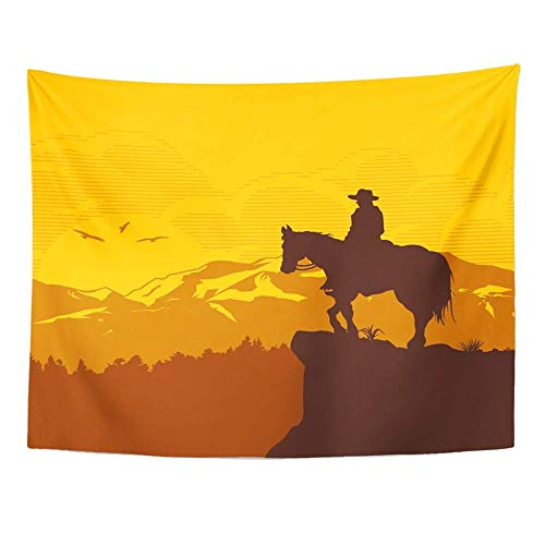 SPXUBZ Wall Tapestry Orange Western Silhouette of Lonesome Cowboy Riding Horse at Sunset Scene Wall Hanging Decoration Soft Fabric Tapestry Perfect Print for House Rooms