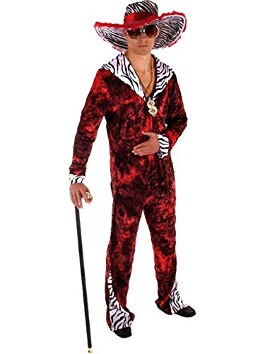 Rimi Hanger Mens Novelty 70s Fancy Gangster Red Costume Adults Fancy Dress Party Wear Outfit One Size