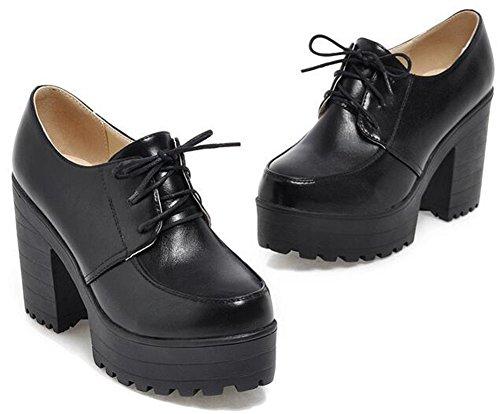 IDIFU Women's Vintage Platform High Heels Chunky Lace Up Oxfords Low Top Shoes Black 7.5 B(M) US by IDIFU (Image #1)