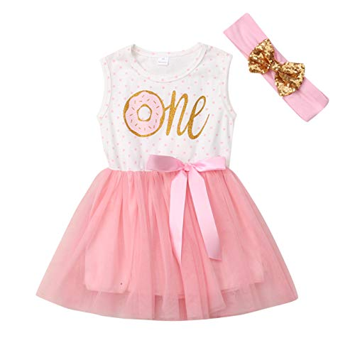 Baby Girl 1st Birthday Outfit Tutu Dress Floral Long Sleeve Lace Skirt + Headband Clothes (12-18 Months, Pink, Short Sleeve)]()