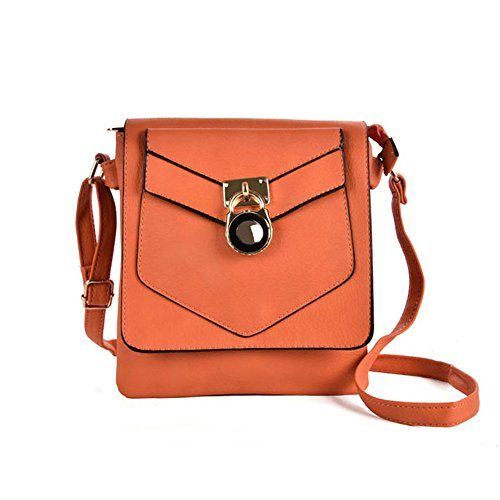 Women With Lock Fashion Bag PU SALLY Orange Leather YOUNG Detail High Body Quality Strap Boxy Cross qEfxw4TR