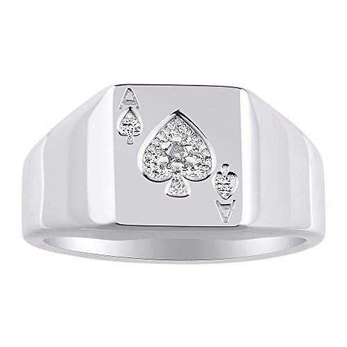 Diamond Ring Lucky Pinky Ring 14K White Gold - Ace of Spades Poker Band