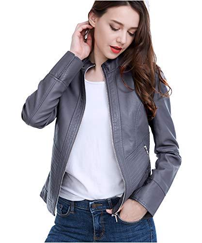 Fasbric Women Faux Leather Wind & Water Proof Biker Jacket Coat Zipper