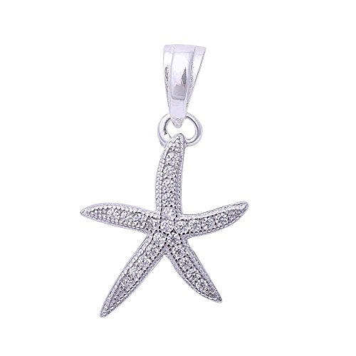 Micro Pave Cubic Zirconia Starfish .925 Sterling Silver (Pave Starfish Pendant)