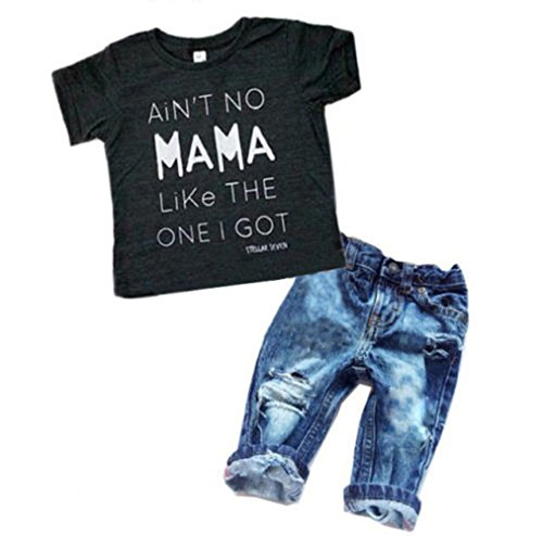 2Pcs/Set Toddler Kids Baby Boy T-shirt Tops Denim Pants Trousers Outfits ()