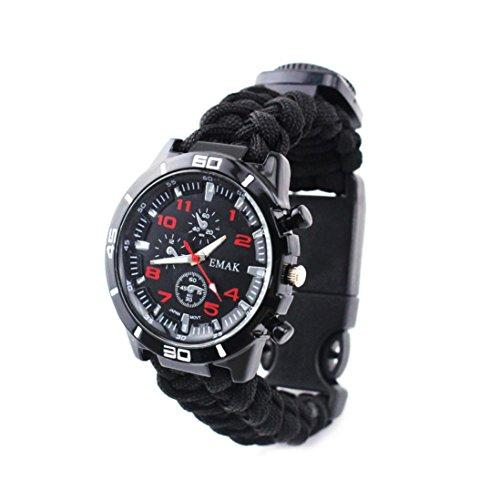 2a223ef6a13 Alonea Outdoor Survival Watch Bracelet Paracord Compass Flint Fire Starter  Whistle (Black)