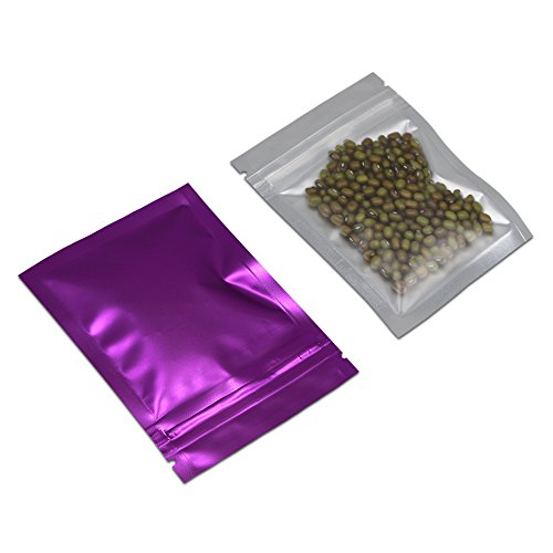 100 Pcs Multi-Colors Resealable Clear Front Mylar Foil Food Storage Bags Heat Seal Smell Proof Pouches Airtight Zipper Grocery Gourmet Nuts Seeds Snack Mix Pack (Purple, 2.9x3.9 inch-3.9mil Thick) by PABCK