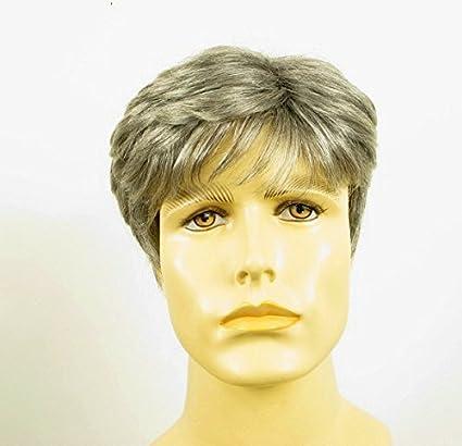 Peluca hombre corto de cabello 100% natural gris mecha blanca JAMES 44
