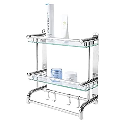Wall Mounted Stainless Steel Bathroom Shelf Rack, 2 Tier Glass Shelves & 2 Towel Bars with Hooks
